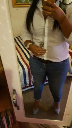 White collor shirt and grey heels. Casual Friday. Work outfits