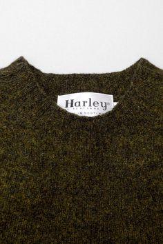 harley of scotland shetland sweater in pine shadow