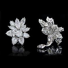 Glamorous Harry Winston Style Diamond Clip Earrings 98 750