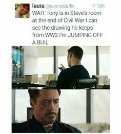 i don't ship stony AT ALL i just think this is cute because their both regreting that they didn't find an easier way of working everything out. plus tony was a total dickhead so he probs feels bad.just sayin. he was a dick.