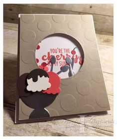 "Faithful INKspirations: Cherry Sundae is made with Stampin' Up's ""Cool Treats"" stamp set and Frozen Treats Framelits."