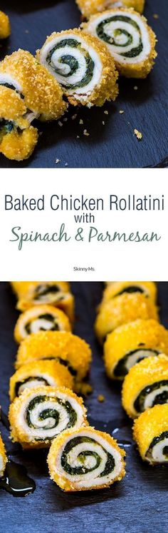 Baked Chicken Rollatini with Spinach and Parmesan--all clean eating ingredients…