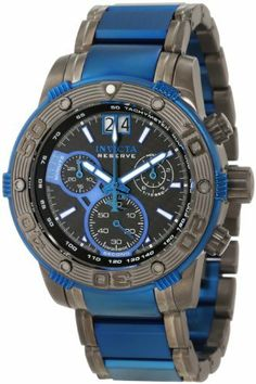 Invicta Men's 10593 Ocean Reef Reserve Chronograph Black Carbon Fiber Dial Watch Invicta. $298.50. Swiss quartz movement. Black dial with white hands and hour markers; blue second hand; luminous; unidirectional gunmetal stainless steel bezel with blue ring; tachymeter scale on inner bezel. Water-resistant to 100 M (330 feet). Flame-fusion crystal; gunmetal and blue ion-plated stainless steel case and bracelet. Chronograph functions with 60 second, 30 minute and 10 hour sub...
