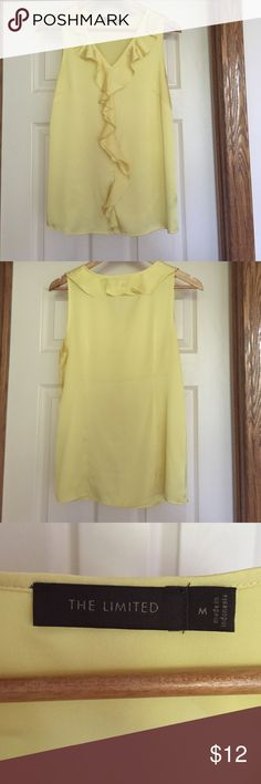 Yellow frilly sleeveless blouse A blouse from The Limited. Sleeveless, frills around neck and down center of front. Size M The Limited Tops Blouses