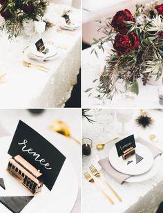 trolley plate setting, san francisco, weddings, name cards