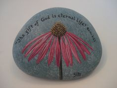 Purple Coneflower and Bible Scripture Verse hand painted on a rock. via Etsy
