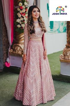 Simple Designer light pink color printed lehenga choli for bridal look.For order WhatsApp on draping styles dress for bride indian dresses indian teens wedding outfits sisters blouse designs indian with dress blouse designs dresses indian Party Wear Indian Dresses, Indian Fashion Dresses, Indian Bridal Outfits, Indian Gowns Dresses, Dress Indian Style, Wedding Dresses For Girls, Indian Designer Outfits, Indian Bridesmaid Dresses, New Wedding Dress Indian