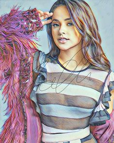 Becky G Coloured Drawing Hand Drawn Print – ArtByZakia
