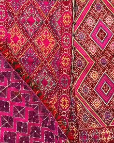 Swat Valley intricate embroidered pillows coming soon - the silk floss stitches are so insanely tiny, it's hard to even see - love these… India Colors, Swat, Interior Design Inspiration, Color Combinations, Pattern Design, Embroidered Pillows, Bohemian Rug, Stitches, Patterns