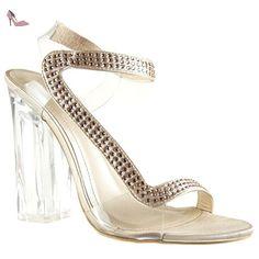 Angkorly - Chaussure Mode Sandale Escarpin sexy soirée femme strass diamant transparent Talon haut bloc 12 CM - Champagne - 708-2 T 36 - Chaussures angkorly (*Partner-Link)