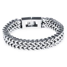 Trendy men stainless steel bracelet Overlord thick chunky bicycle motorcycle chain bracelet men Titanium male bracelet square