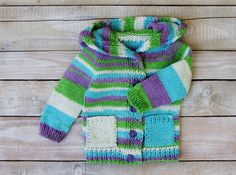 Baby Girls Clothes - Hand Knitted Cotton Baby Sweater - Hooded Sweater for Baby Girls - Multicolored Hoodie Size 12 Months