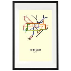 Tate Gallery By Tube, David Booth from Made.com. Multi-Coloured. Express delivery. Part of a collection of vintage prints celebrating London, this o..