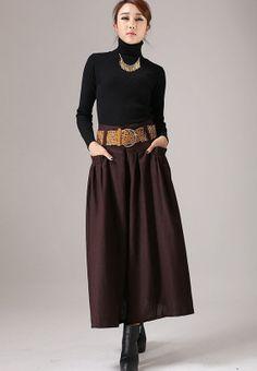 Brown pleated skirt linen skirt maxi skirt 772 by xiaolizi, $69.00