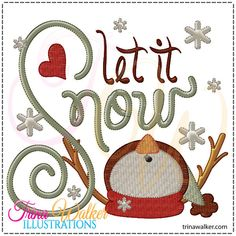 Let It Snow 1 Machine Embroidery Design - Click Image to Close