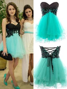 Ulass 2015 Appliques And Tulle Prom Dresses, Short/Mini Prom Dresses, Sexy Prom Dresses, A-Line Prom Dresses, Charming Lace-Up Evening Dresses,