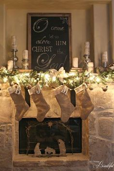 {Christmas Home Tour} Burlap and velvet stockings, Barnwood framed chalkboard, and glitter nativity, make this Christmas mantle chic. Many beautiful Christmas decorating idea's in this home tour. Merry Little Christmas, Noel Christmas, Rustic Christmas, Christmas Crafts, Outdoor Christmas, Christmas Christmas, Christmas Ideas, Primitive Christmas, Fire Place Christmas Decor
