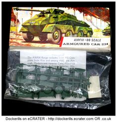 Vintage Airfix Armoured Car 234 Kit. Airfix Type 3 / Red Stripe Bag Kit. HO / OO Scale. Produced c. 1963-1973.