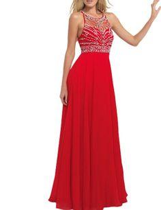 LovingDress Women's Prom Dresses Halter A-Line Tulle and Chiffon Evening Dress…