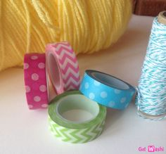 Pink, turquoise, and green washi tape from GetWashi.com!