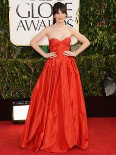 Zooey Deschanel in Oscar de la Renta #GoldenGlobes