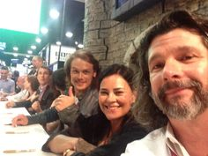 """At the autograph table"" from @RonDMoore with Diana Gabaldon and Sam Heughan #Outlander #SDCC"