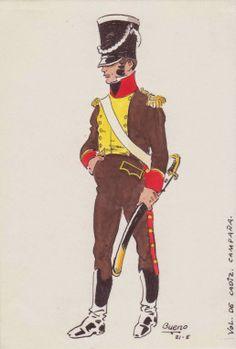 Officer Voluntarios Distinguidos de Cadiz in Campaign Uniform c.1810 by J.Bueno