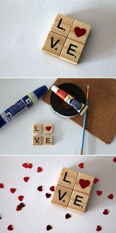 DIY Love Magnet aus Scrabble Buchstaben: DIY, Basteln, Selbermachen, Geschenkideen, Geschenke, Magnet, Scrabble Buchstaben, Adventskalender, Weihnachtskalender, Herz, Liebesgeschenk, Jahrestag...