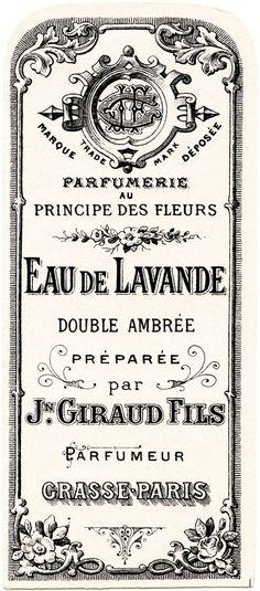 French perfume label, Jn Giraud Fils, vintage French ephemera, eau de lavande, lavender water perfume label, free vintage label graphic