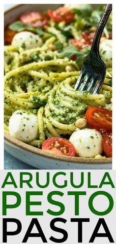Looking to give pasta night a fresh and fabulous, yet easy upgrade? Try this Arugula Pesto Pasta with mozzarella pearls and cherry tomatoes! pasta recipe Arugula Pesto Pasta with Blistered Tomatoes & Burrata Arugula Recipes, Pesto Pasta Recipes, Pesto Pasta Salad, Vegetarian Pasta Recipes, Veggie Recipes, Pasta With Arugula, Recipes With Mozzarella, Basil Pesto Pasta, Salad Recipes