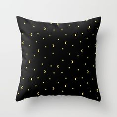 Gold Moons and Stars Throw Pillow #night #black #gold #luxurious #moon #strary #stars #faerieshop #magic #mysterious #hipster #witchy #cool #halloween #occult #space #abstract #simple #magical #gothic #minimalism #vector #seamless #repeat #sale #accessories #society6 #s6 #home #decor #decoration