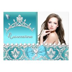 Quinceanera 15th Blue Damask Butterfly Add Photo Card