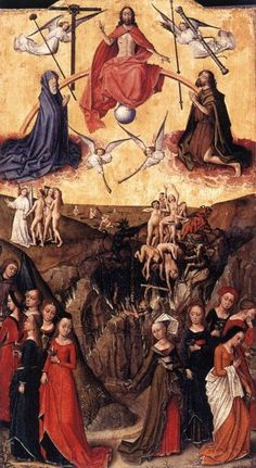 """Last Judgment and the Wise and Foolish Virgins - 1480 (Unknown Master), Flemish - Matthew """"Then shall the kingdom of heaven be likened unto ten virgins, which took their lamps, and went forth to meet the bridegroom. Medieval World, Medieval Art, Catholic Art, Religious Art, The Last Judgment, Parables Of Jesus, Bible Commentary, Matthew 25, Christian Devotions"""