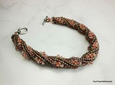 Tubular Herringbone Stitch Crystal Seed Bead Bracelet by YourFavoriteBracelet for $45.00