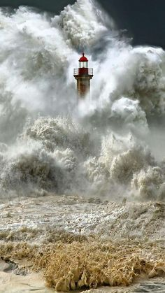 Massive waves engulfs a lighthouse. I look at these images, and I can't fathom the what the person is feeling, the one IN the lighthouse, even the photographer. Fuerza Natural, Cool Pictures, Cool Photos, Amazing Nature Photos, Sea Pictures, Powerful Pictures, Lighthouse Pictures, Beacon Of Light, All Nature