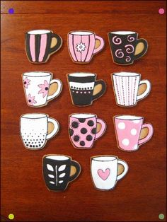 Coffee Mug Cookies - Almond biscuits with flooded Ri and handmade template (which i also posted). Fancy Cookies, Cute Cookies, Cupcake Cookies, Cupcakes, Teacup Cookies, Coffee Cookies, Iced Cookies, Cookies Et Biscuits, Coffe Cake
