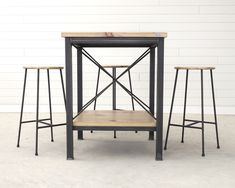 Celebrating a custom designed and handmade item feature raw steel and reclaimed wood floor joists for the table top. Dining Nook, Kitchen Dining, Brothers Furniture, Custom Vanity, Meeting Table, Pine Floors, Custom Furniture, Modern Design, Stool