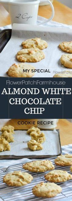 Almond White Chocolate Chip #cookies with my secret ingredient! #baking #recipes