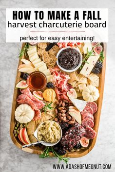 If you've ever wondered how to make a fall harvest charcuterie board that's perfect for the holidays, look no further! Cranberries, pumpkin, figs, and apples lend a fall touch to any charcuterie and c Charcuterie Recipes, Charcuterie And Cheese Board, Charcuterie Platter, Cheese Boards, Thanksgiving Appetizers, Thanksgiving Recipes, Fall Recipes, Holiday Recipes, Yummy Appetizers