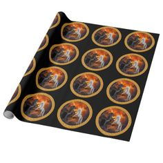 Horse fighting in a lighting storm wrapping paper - paper gifts presents gift idea customize