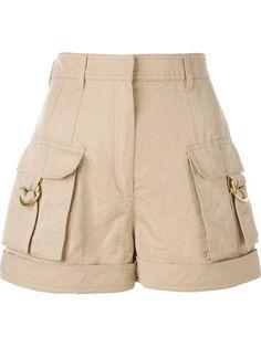 Balmain Shorts Com Bolsos - Farfetch Ankara Short Gown Styles, Short Gowns, Short Skirts, Balmain, High Rise Shorts, High Waisted Shorts, Short Outfits, Cute Outfits, Beige Shorts