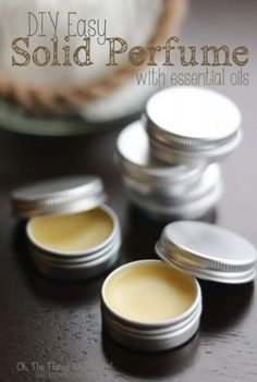 DIY Easy Solid PerfumeThanks rebekah_gough for this post.DIY Easy Solid Perfume - Oh, The Things We'll Make! A quick and easy project that makes a great gift. Learn how to make a natural perfume with essential oils that is very practical for# DIY Diy Beauté, Easy Diy, Diy Spa, Diy Parfum, Aloe Vera Creme, Perfumes Vintage, Perfume Diesel, Essential Oil Perfume, Solid Perfume