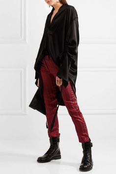Red satin, dark-gray twill Concealed buttons and zip fastening at front 44% polyester, 41% cotton, 15% silk Dry clean
