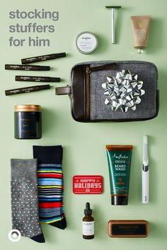 Grooming go-tos are great stocking stuffers for guys. Fun twist: Hang the dopp kit from the mantle instead of a stocking.