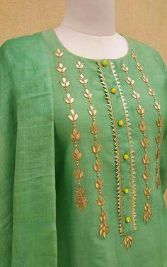Best 12 Pure Silk Chanderi Kurta with Gota Patti handwork on front Lime potli button detailing on neck Hand block printed fine Tussar Silk Dupatta – SkillOfKing. Neck Designs For Suits, Neckline Designs, Dress Neck Designs, Stylish Dress Designs, Designs For Dresses, Sleeve Designs, Blouse Designs, Salwar Designs, Silk Kurti Designs