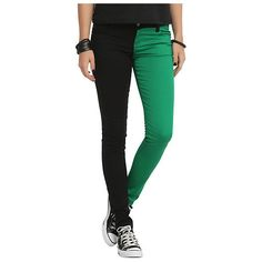 Royal Bones Green And Black Split Leg Skinny Jeans | Hot Topic (185 VEF) ❤ liked on Polyvore