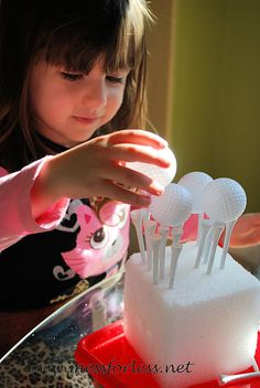 Mess For Less: Fine Motor Work with Golf Tees