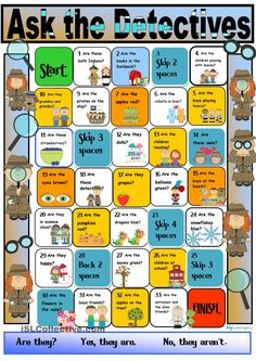 Board games 324540716882869514 - Detective Boardgame for The Verb to be Third Person Plural Source by achaunu English Grammar Games, English Games For Kids, Kids English, English Activities, English Lessons, English Vocabulary, Teaching English, Learn English, English English