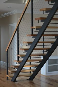 Double Stringer Steel Staircases with Wood Treads in NYC & CT | Acadia Stairs