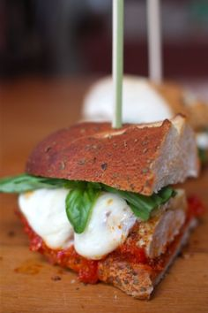 Chicken Parm Hero Sandwiches w/ Fresh Basil via @simplebites